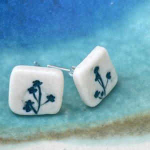Cornish hedgerow earrings – blue/green square