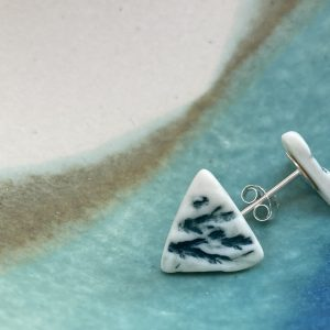 Cornish hedgerow earrings – blue/green triangle