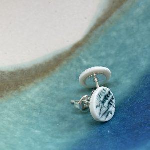 Cornish hedgerow earrings – blue/green grasses